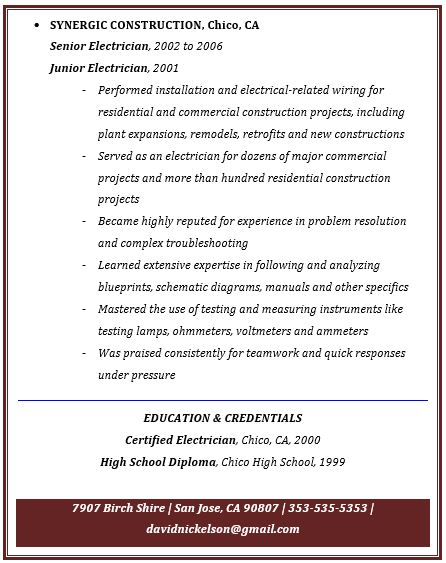 Journeyman Electrician Resume Pdf Master Electrician Resume