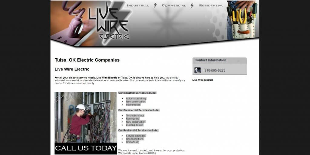 Live Wire Electric Electrician In Tulsa