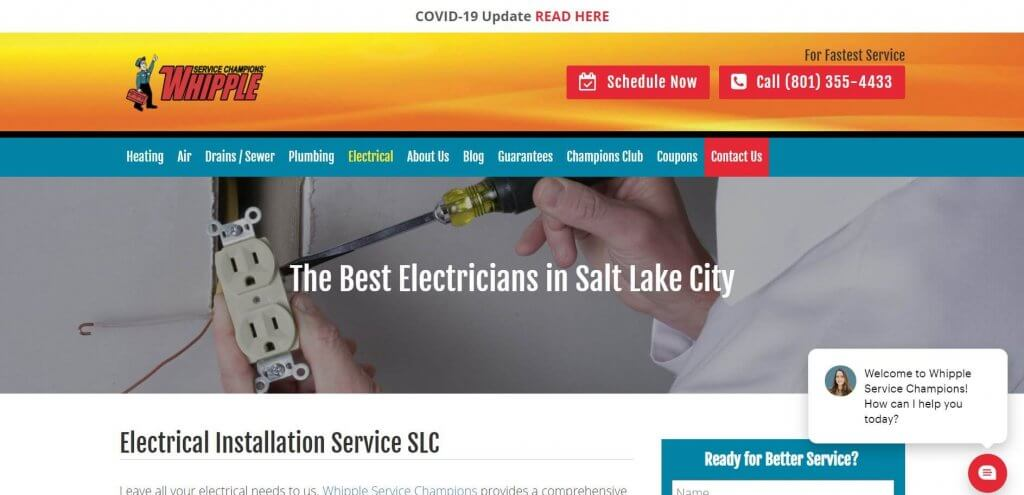 Whipple Service Champions Electrician Salt Lake City